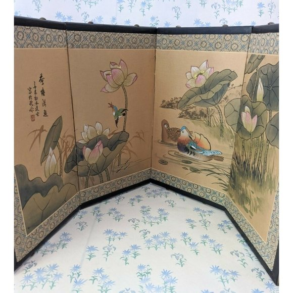 Vintage Asian Hand Painted 4 Panel Paper Screen